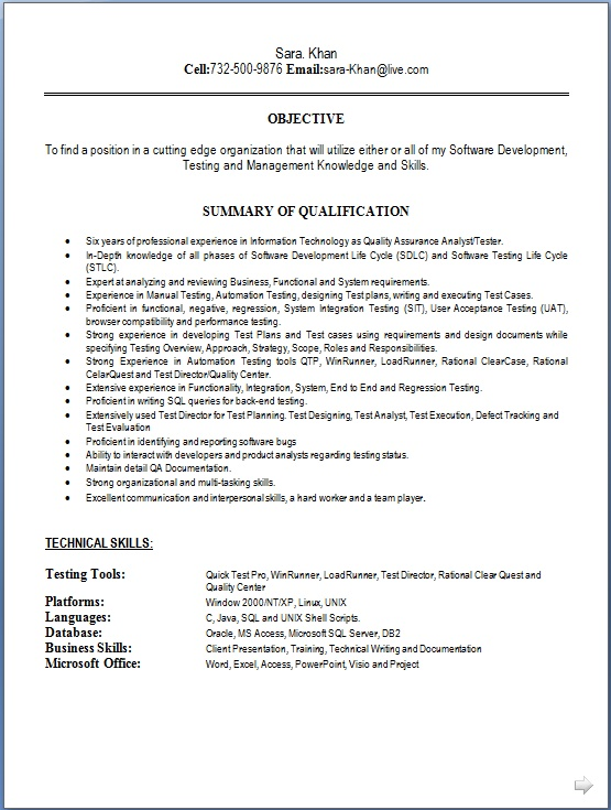 Resume Model In Word Format Free Download
