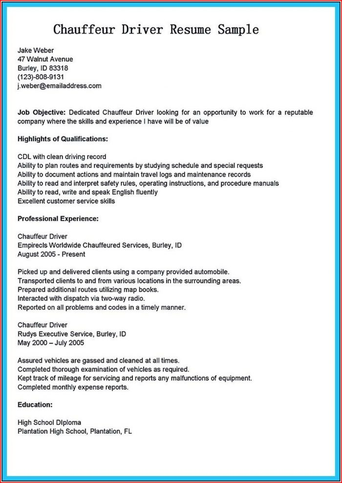 Resume Sample For Driving Job
