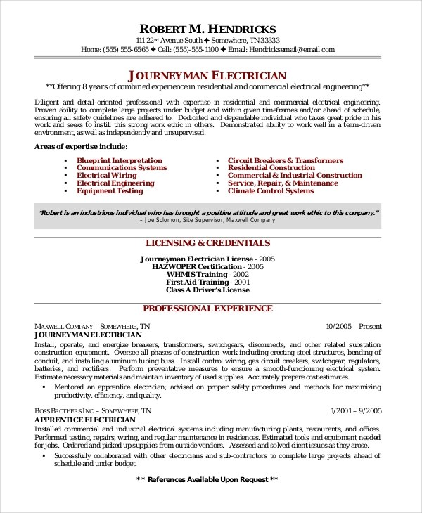 Resume Samples For Electricians