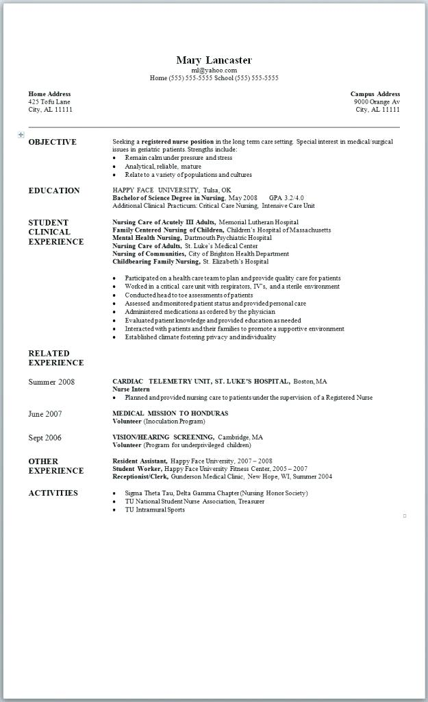 Resume Samples For Nurses With Experience