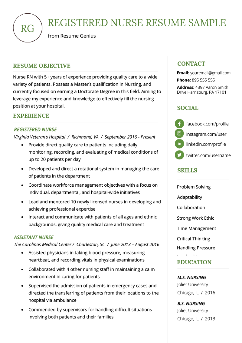 Resume Samples For Nurses