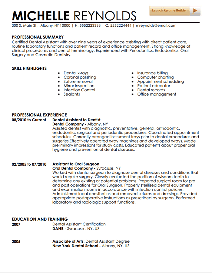 Resume Template Dental Assistant