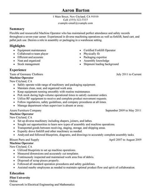 Resume Template For Machine Operator
