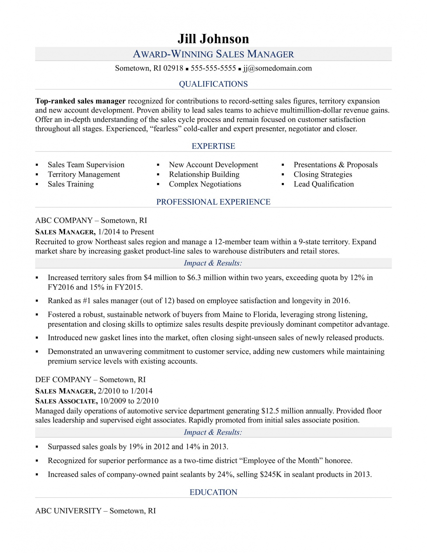 Sales Manager Resume Sample | Monster