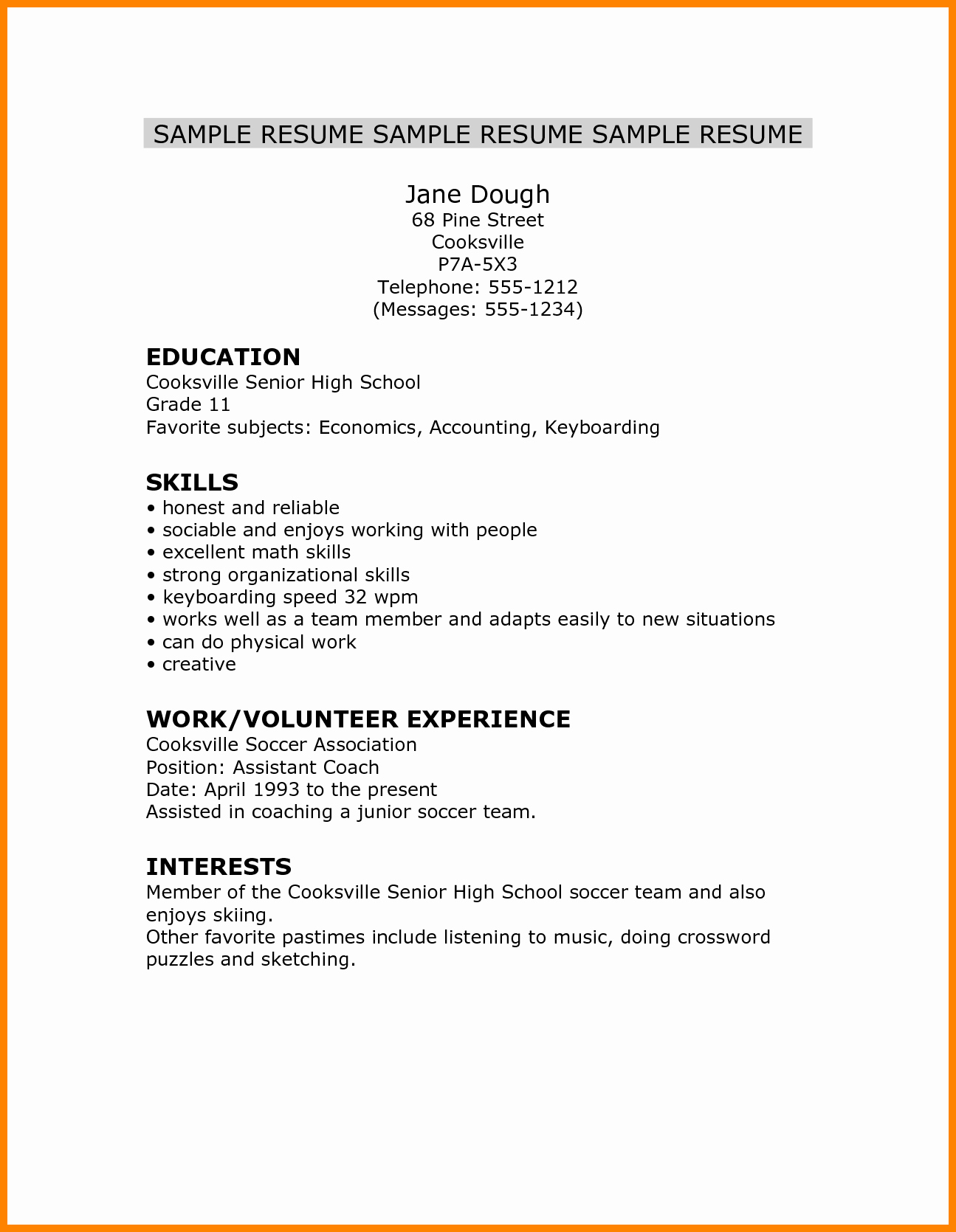 Resume Templates For Students In High School