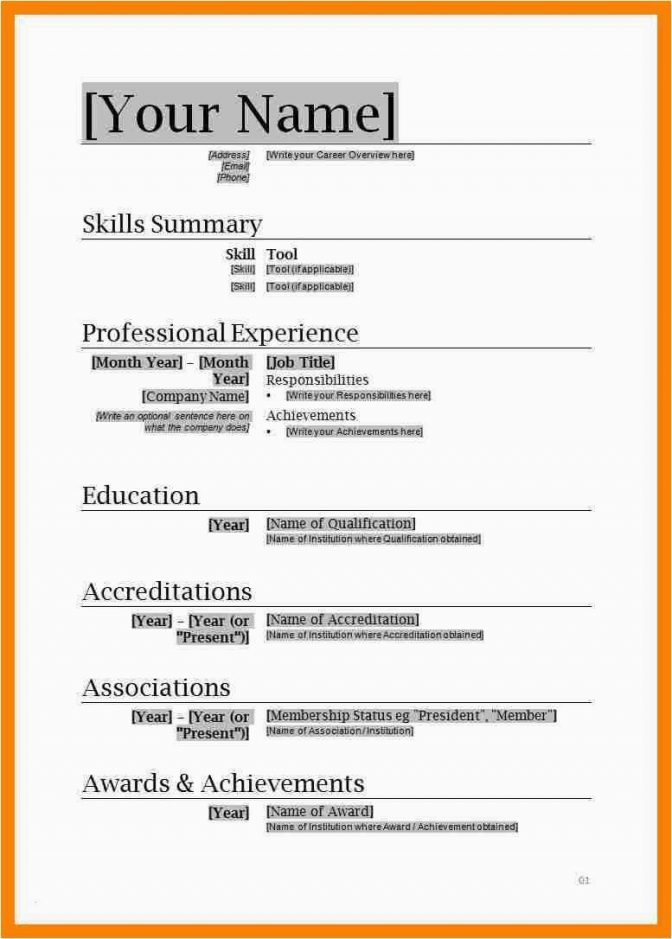 Resume Templates For Word 2007