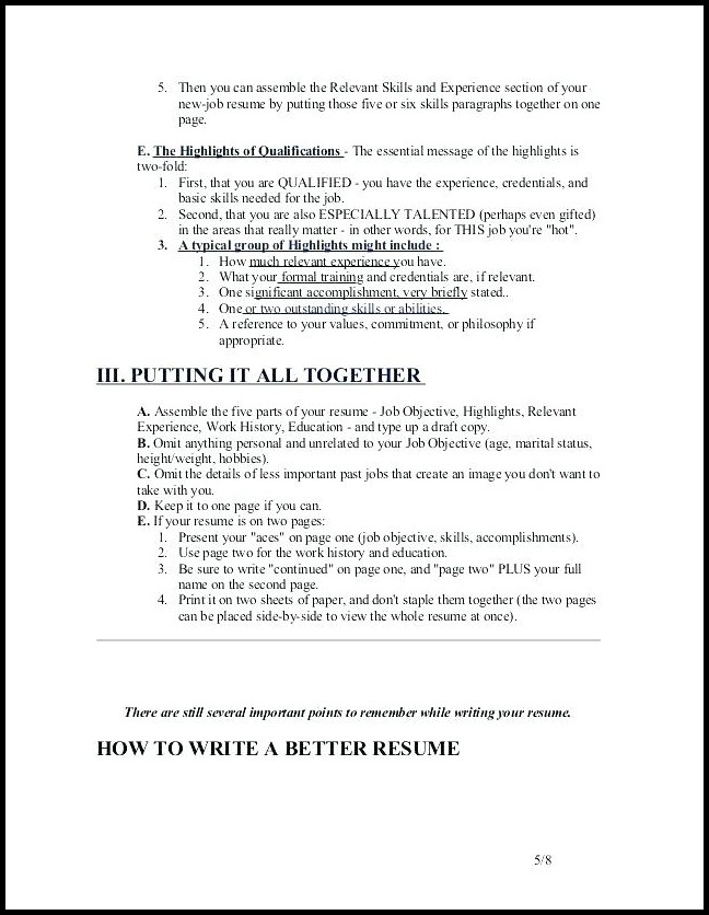 Resume Writing For Dummies Pdf