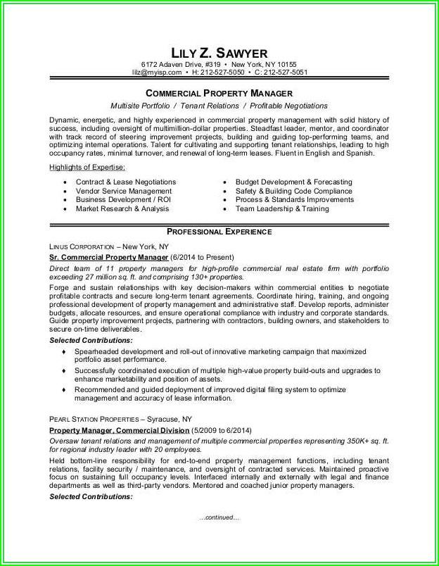 Resumes For Property Managers