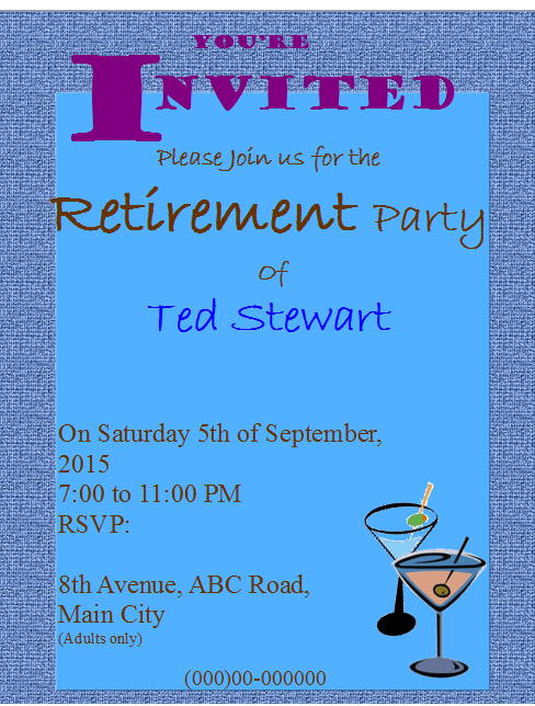 Retirement Party Flyer Template Publisher