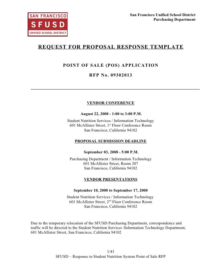 Rfp Response Template