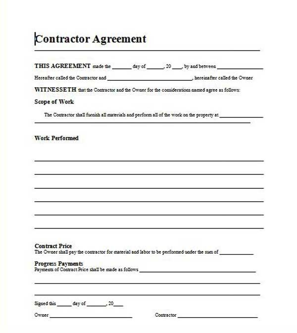 Roofing Contractor Contract Template