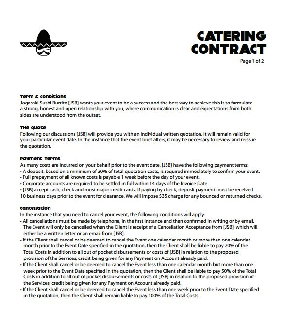 Sample Catering Contract Template Free
