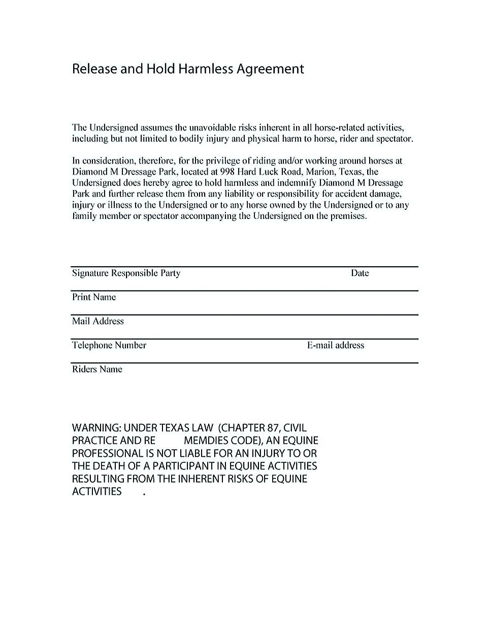 Sample Hold Harmless Agreement Template