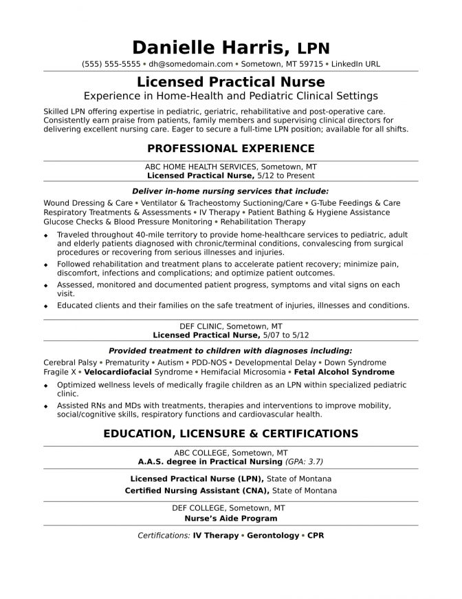 Sample Lpn Resume With Nursing Home Experience