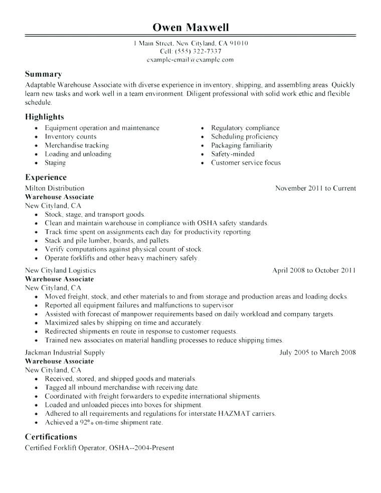 Sample Of Warehouse Resume