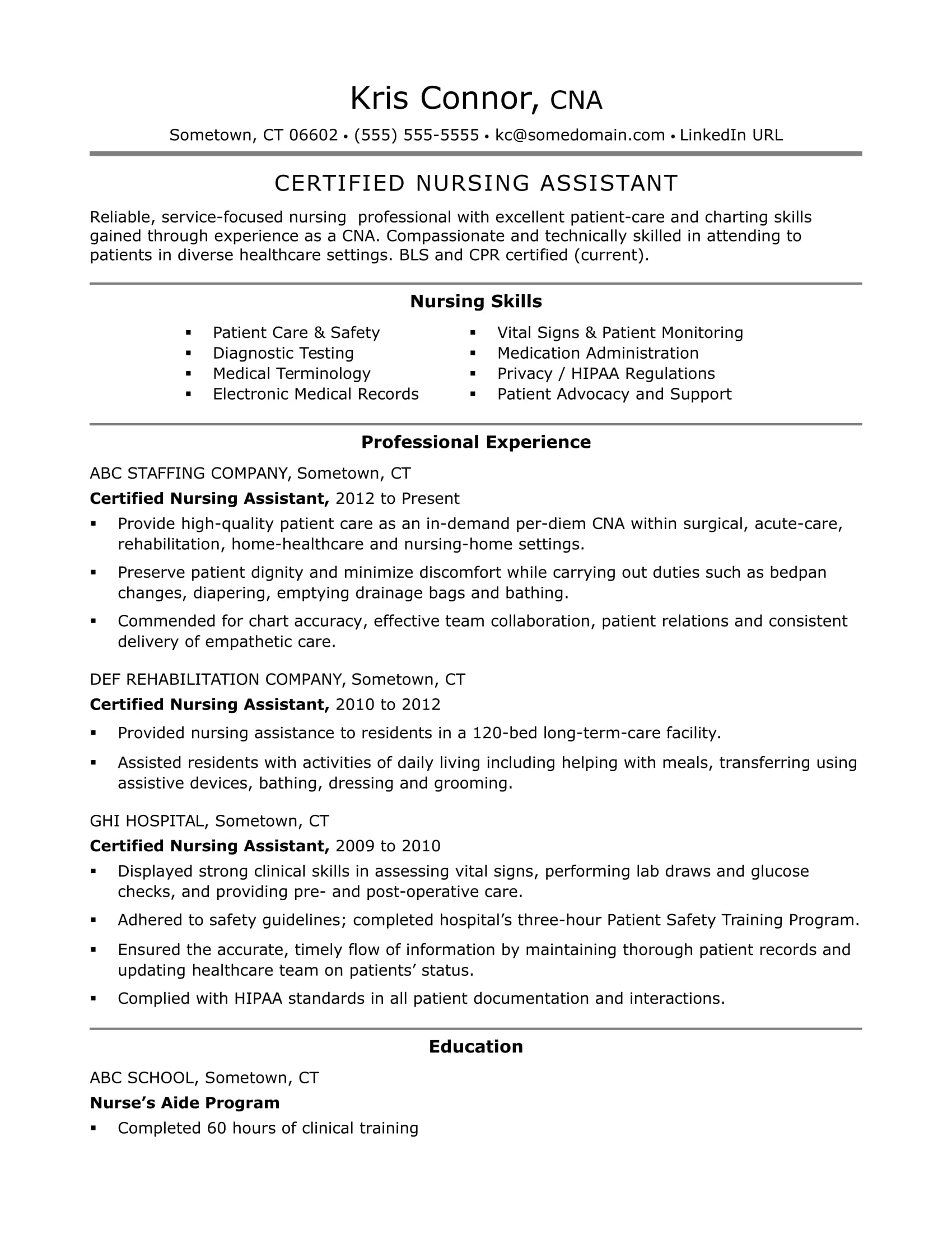 Sample Resume For Cna Position