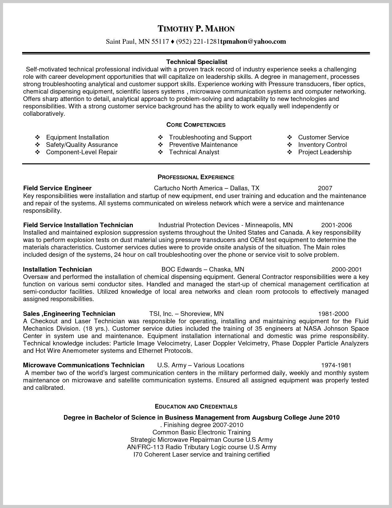 Sample Resume For Field Service Technician