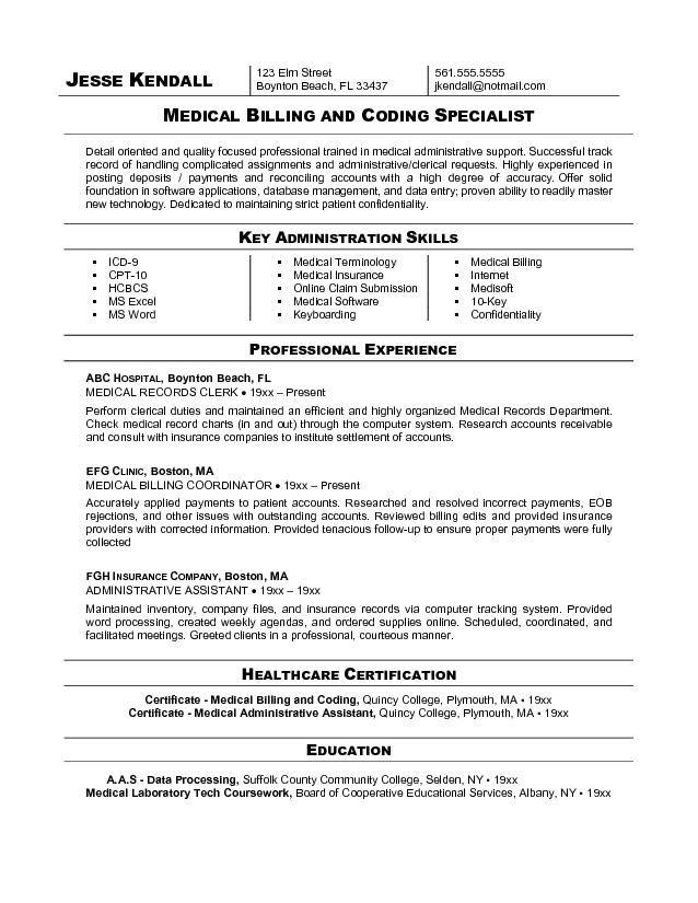 Sample Resume For Medical Billing And Coding