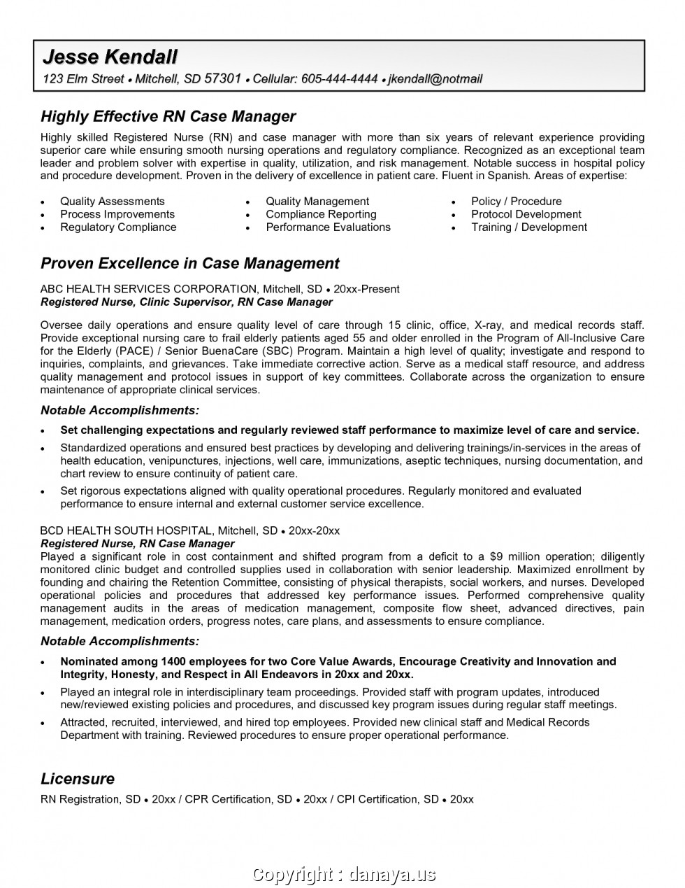 Sample Resume For Rn Case Manager
