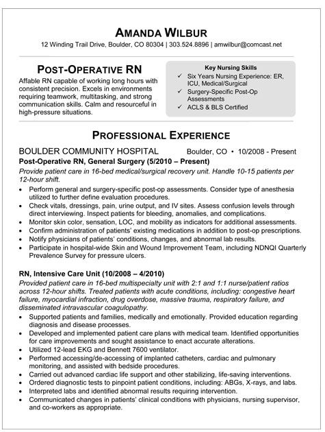 Sample Resume For Rn Med Surg