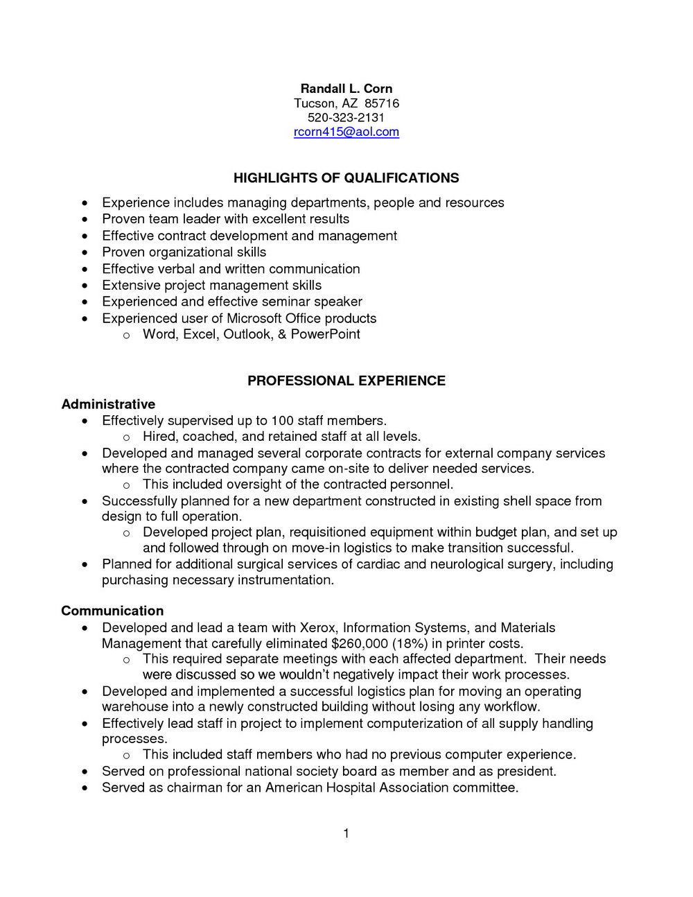 Sample Resume For Sterile Processing Technician