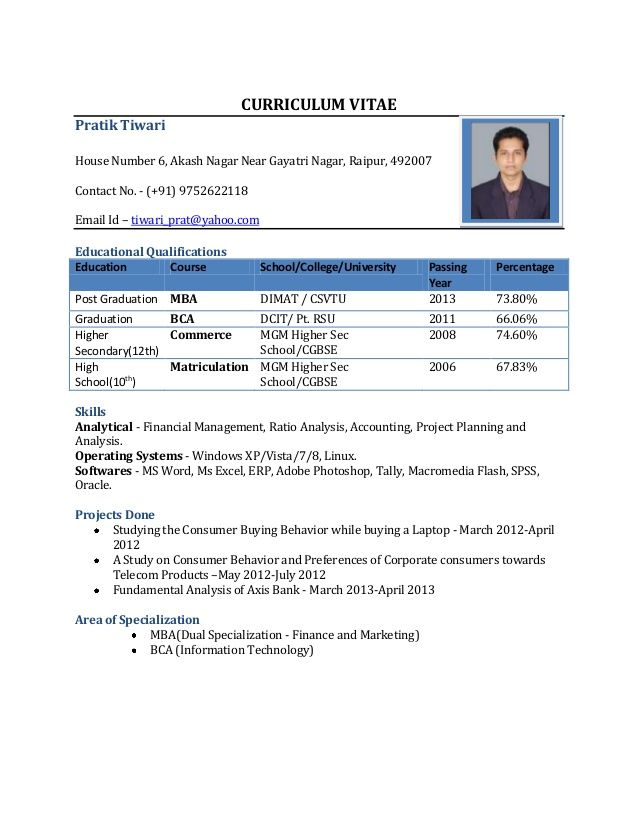 Sample Resume Format Pdf Download Free