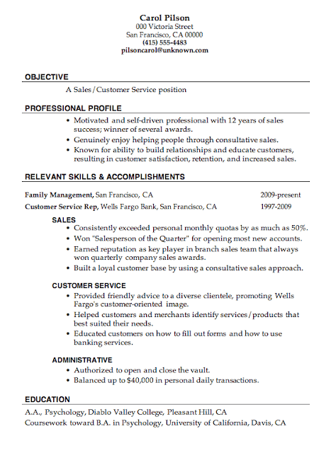 Samples Of Resumes For Customer Service