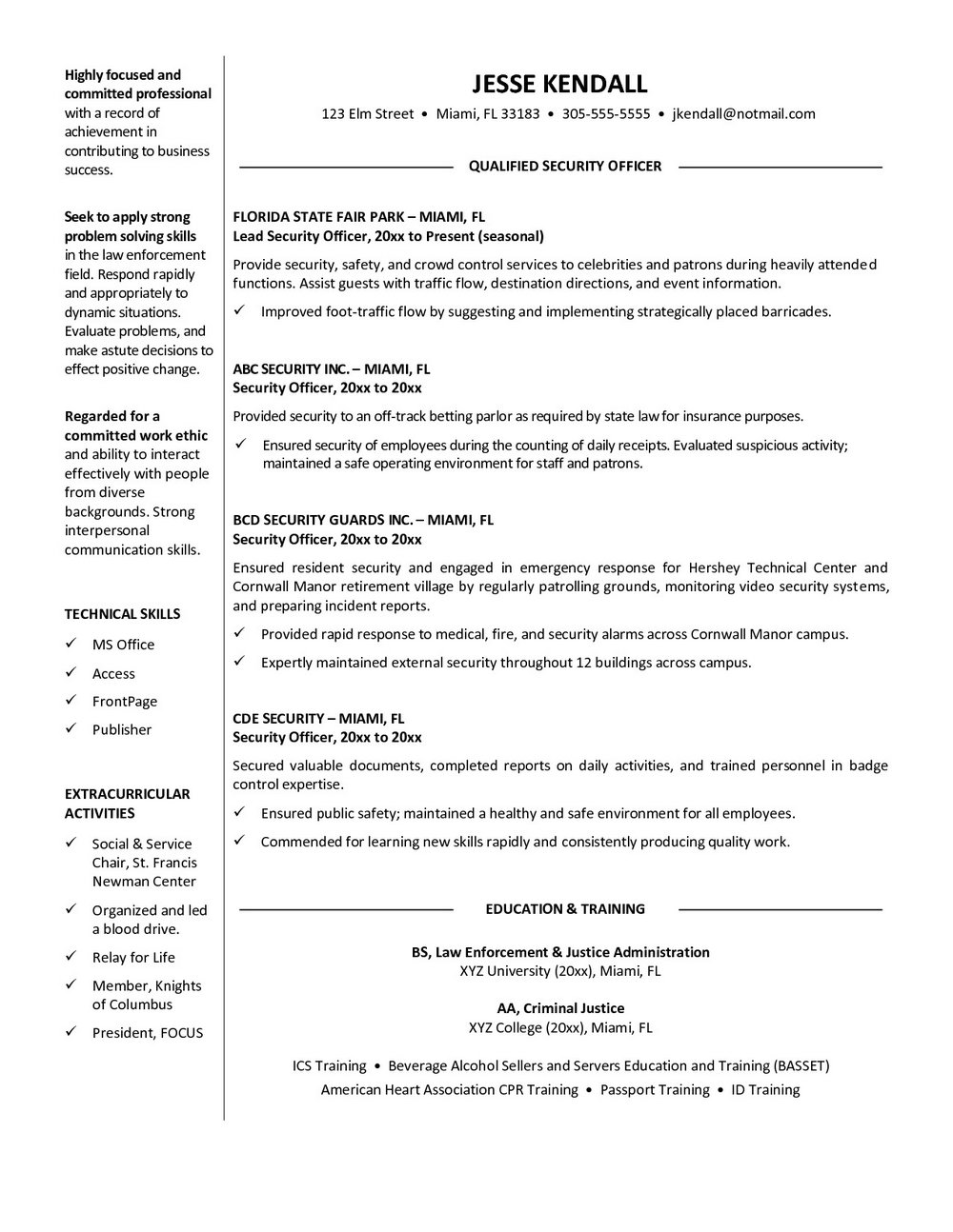 Security Guard Resume Format In Word