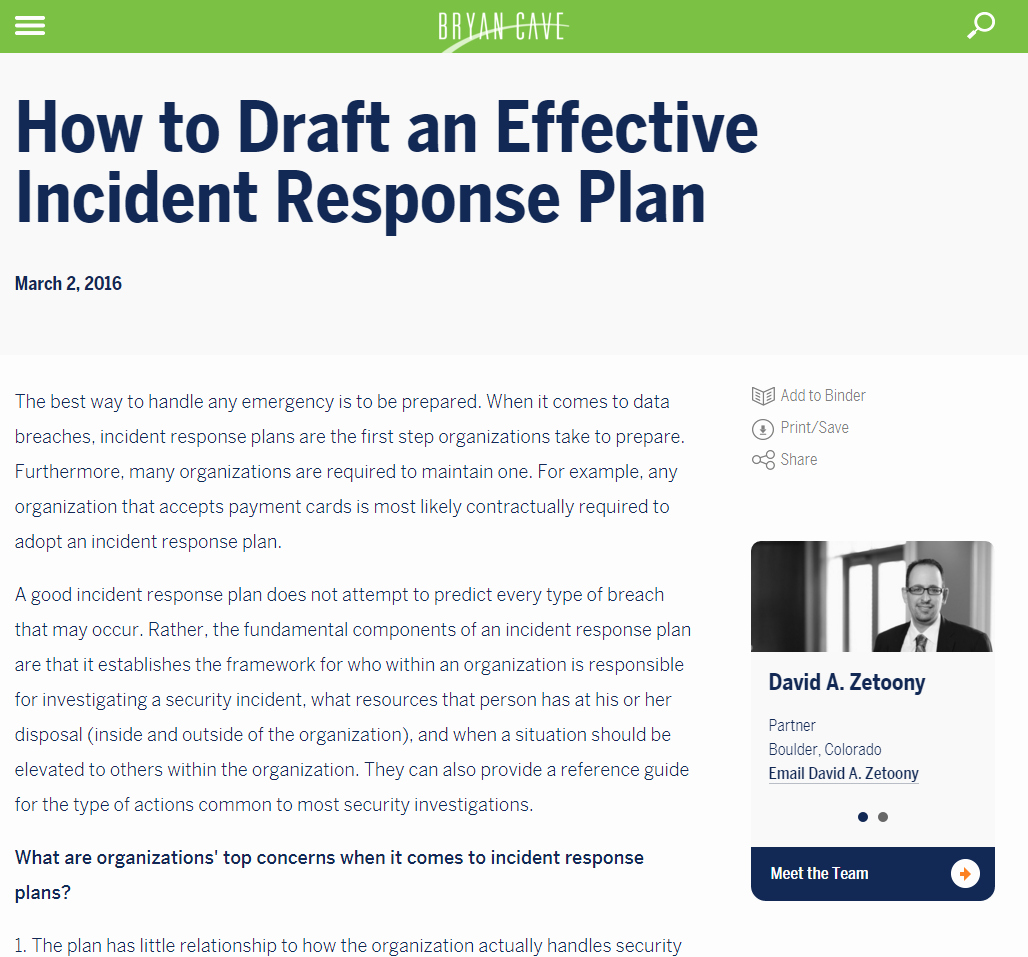 Lovely Gallery Of Fresh Nist Cyber Incident Response Plan