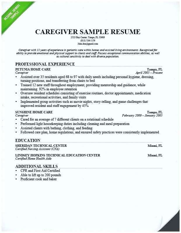Senior Caregiver Resume Sample