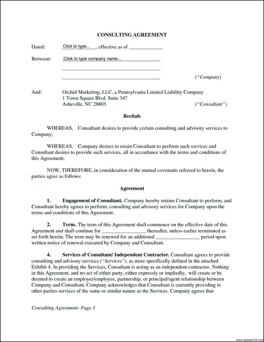 Simple Consulting Agreement Sample 114661 Template Consultant Contract Template
