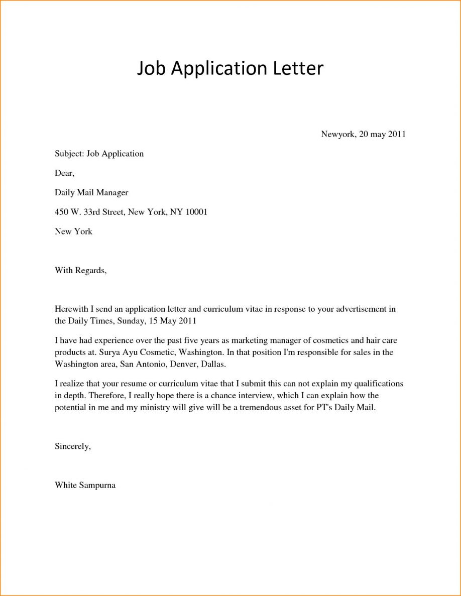 Simple Fresher Job Application Resume Format