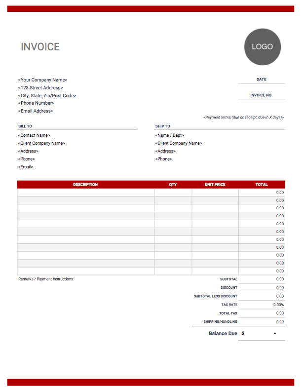 Simple Invoice Template Word Download Free