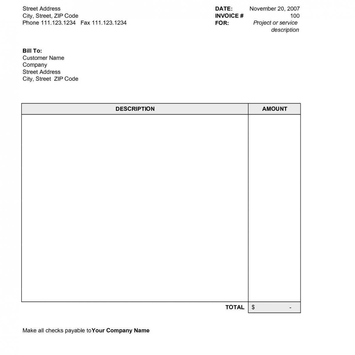 Simple Invoice Template Word Uk