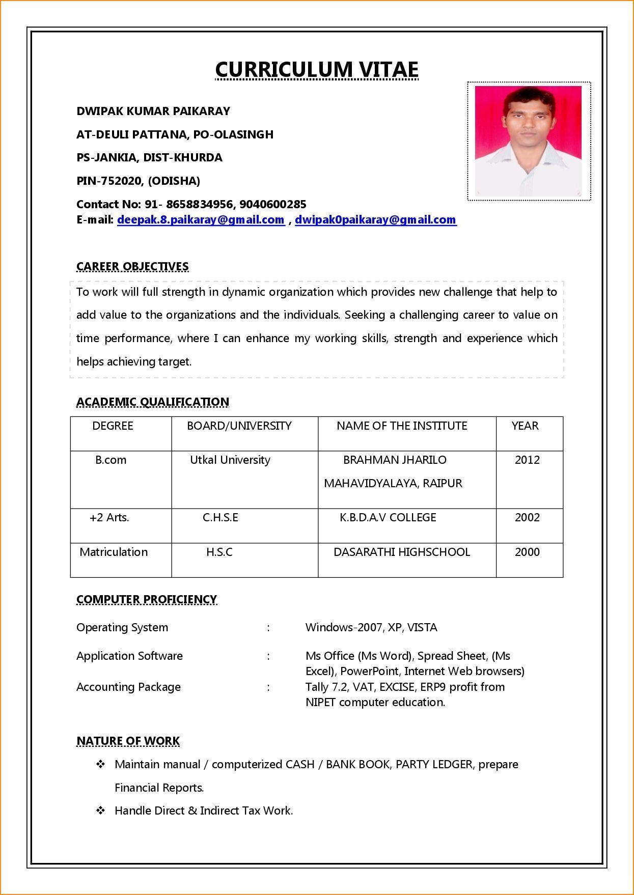 Simple Job Resume Format In Word