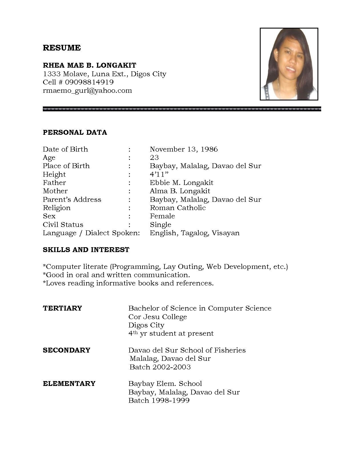 Simple Resume Format In Word File Download