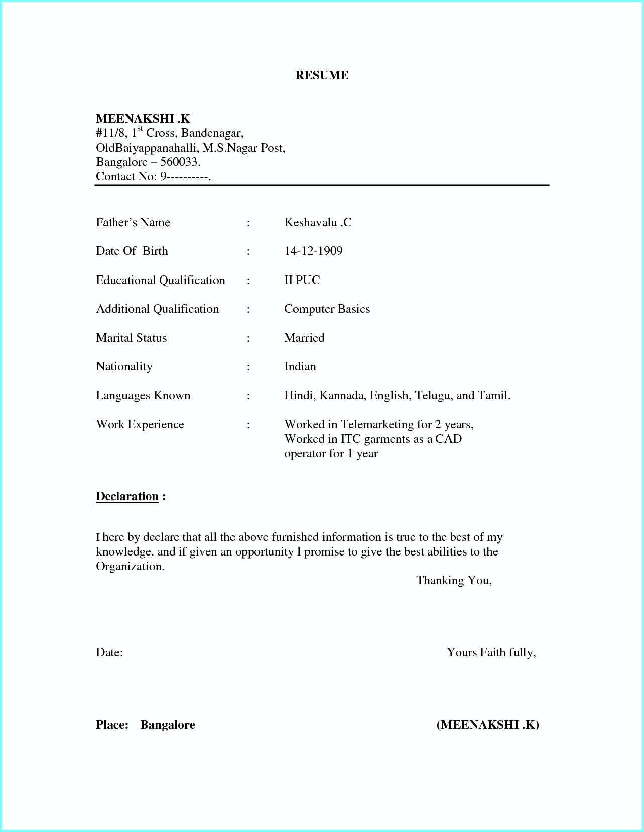 Simple Resume Format Word File Download Free