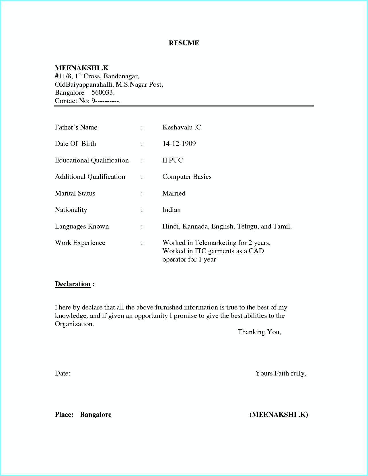 Simple Resume Format Word File Download Free