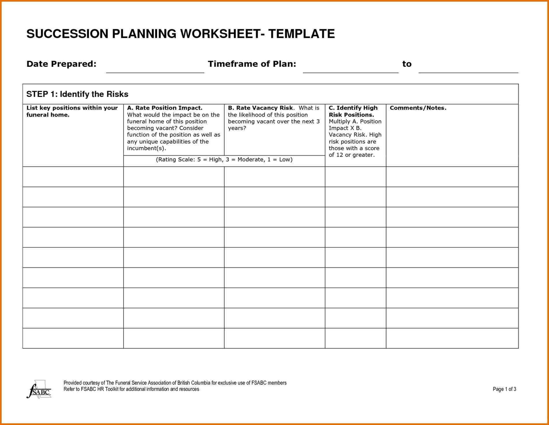 Sample Succession Plan Template