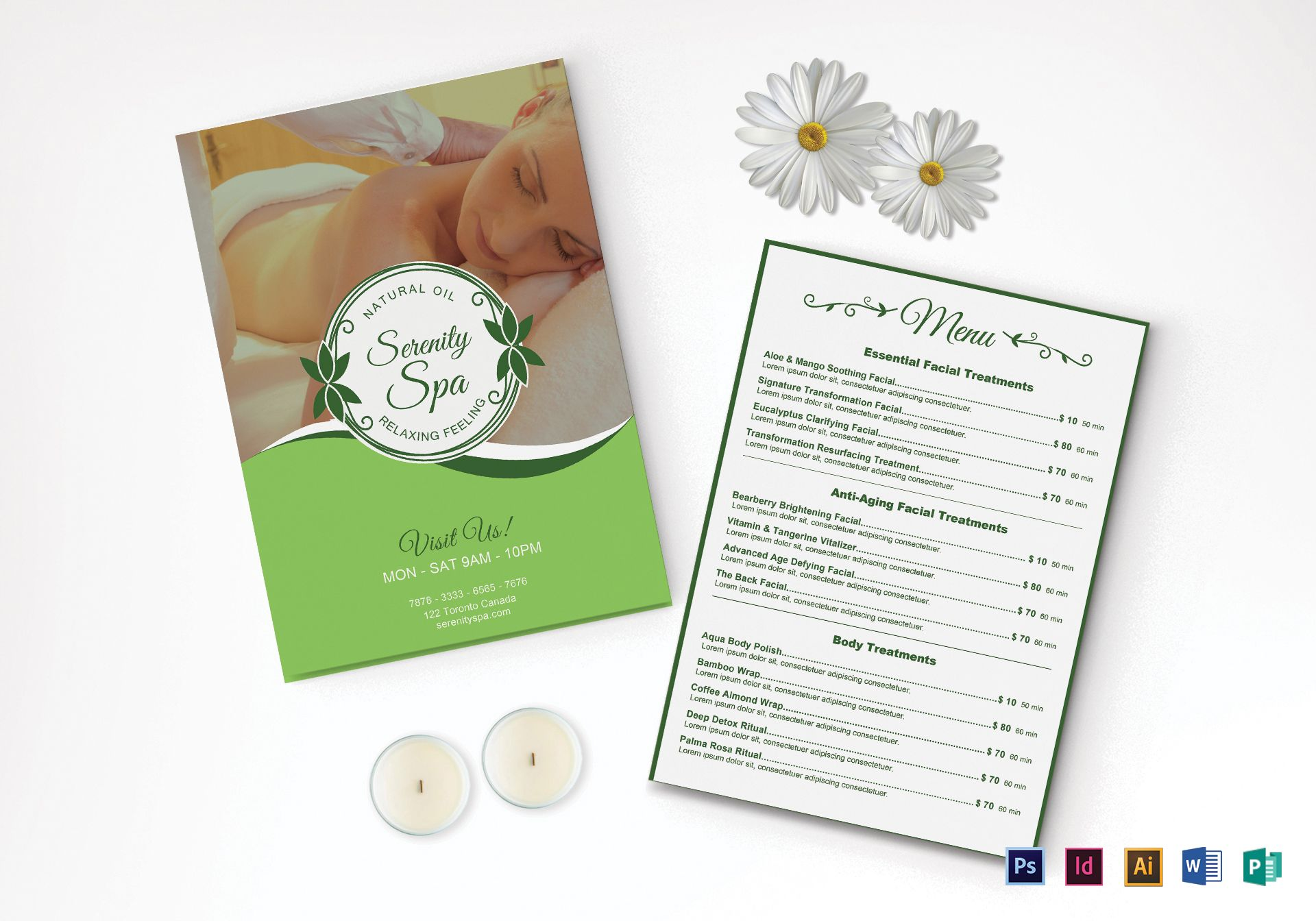 Spa Menu Template Word