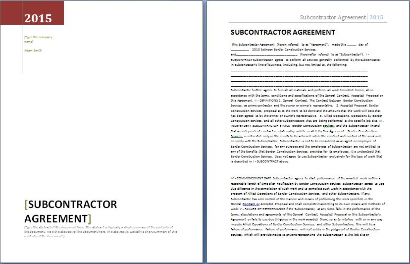 Subcontractor Agreement Template Word