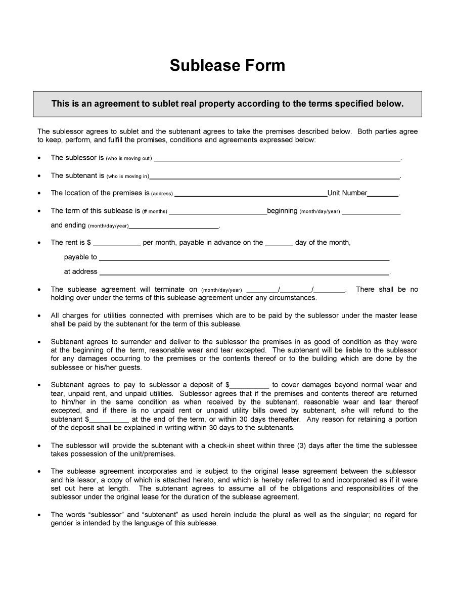Sublease Agreement Template South Africa