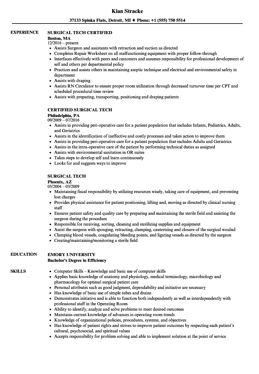 Surgical Tech Resume Samples