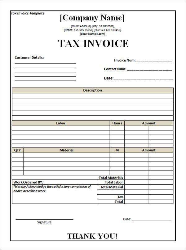 Tax Invoice Template Word Doc