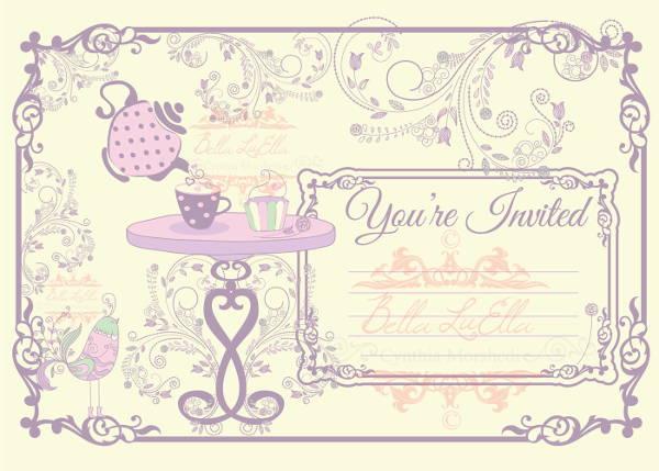 Tea Party Invitation Template Blank