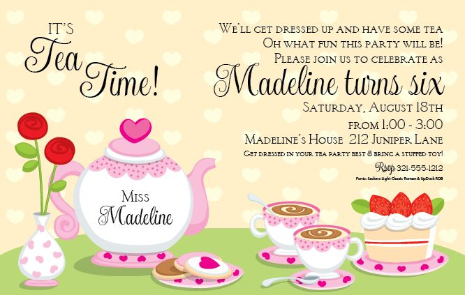 Tea Party Invitation Template Word