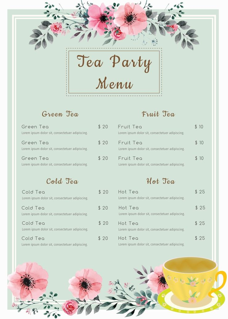 Tea Party Menu Template Free
