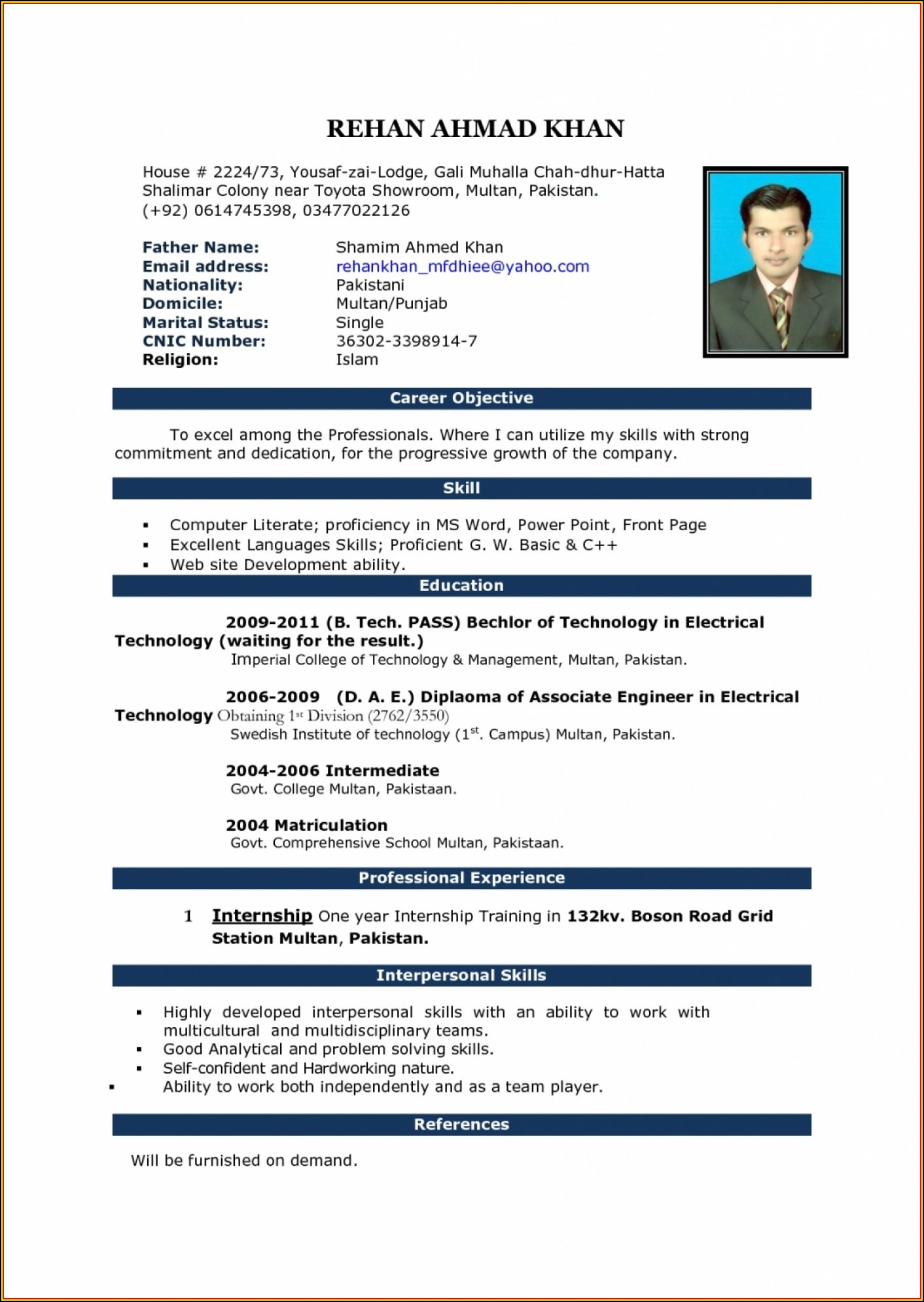 Teacher Resume Format In Word Free Download Indian