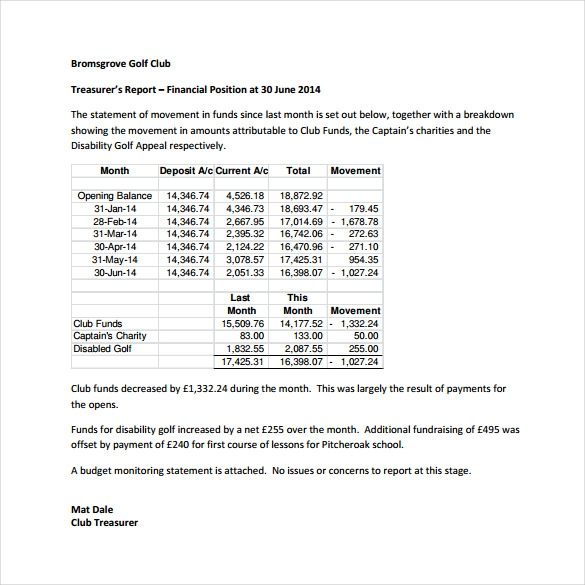 Treasurer's Report Template For Non Profit Organization
