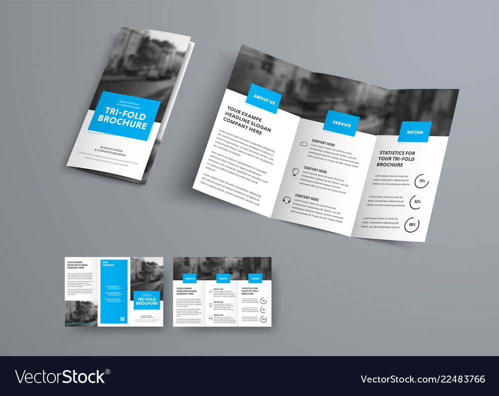 Tri Fold Vector Brochure Template With Blue Rectangular Elements